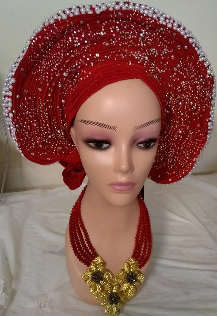 V-Shape Auto Gele embellished with stones and pearls - Ladybee Swiss Lace