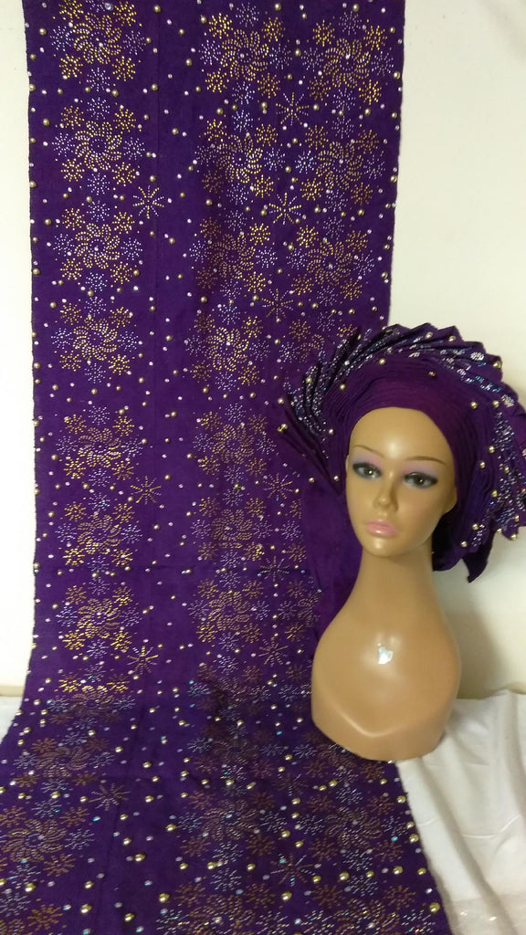 HEADTIE WITH SHOULDER SHAWL FULLY DESIGN - Ladybee Swiss Lace