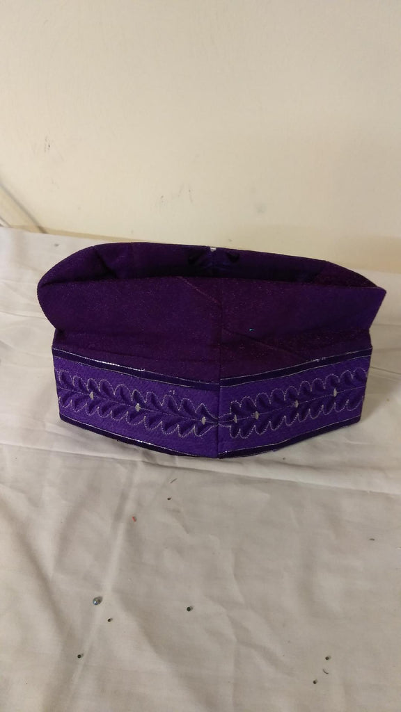 PURPLE Nigerian Traditional  Native  Wear Men Cap for Traditional Ceremoneis - Ladybee Swiss Lace