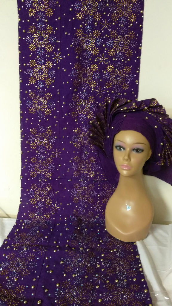 COMPLETE SET OF PURPLE HEADTIE WITH SHOULDER SHAWL - Ladybee Swiss Lace