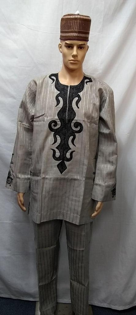 AFRICAN TRADITIONAL MEN COMPLETE SET OUTFIT MADE WITH HIGH QUALITY FABRIC ATIKU - Ladybee Swiss Lace