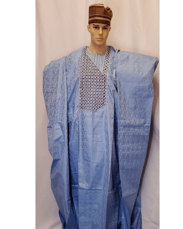 AFRICAN TRADITIONAL MEN AGBADA 3 PIECES COMPLETE SET OUTFIT