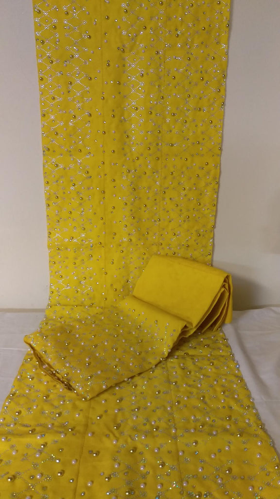 BRIDAL SET OF YELLOW COMPLETE SET OF HEADTIE AND SHOULDER SHAWL GELE& IPELE - Ladybee Swiss Lace