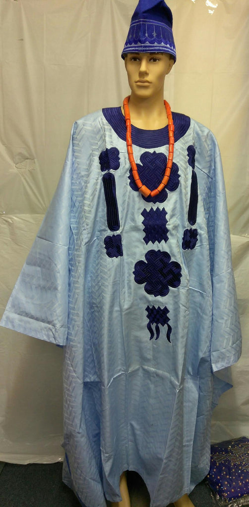 BLUE WITH BEAUTIFUL DESIGN MEN AGBADA 3 PIECE MEN CLOTH - Ladybee Swiss Lace
