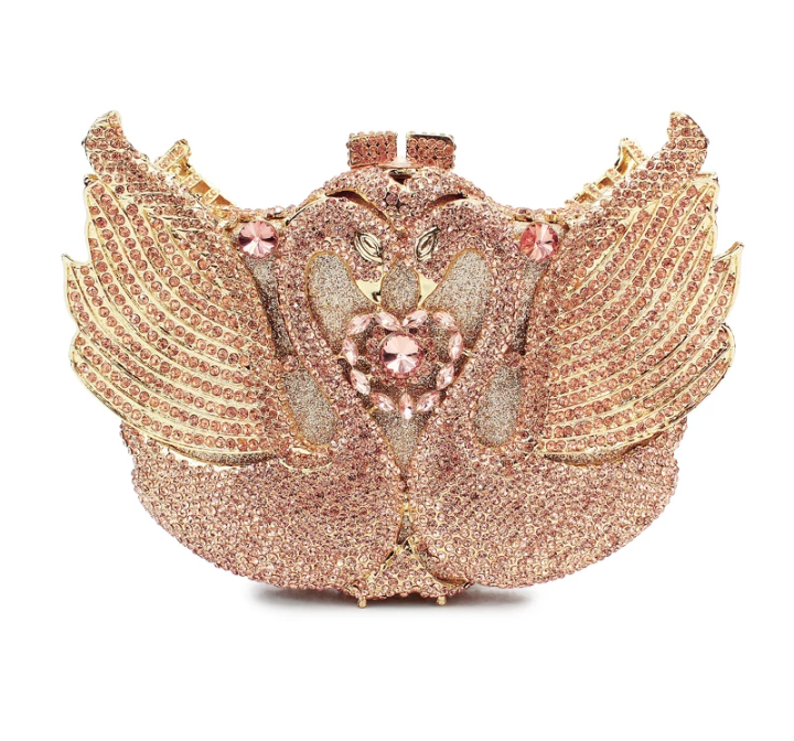 EXQUISITE CLASSIC  DAZZING CRYSTAL  PEACH  PARTY PURSE - Ladybee Swiss Lace