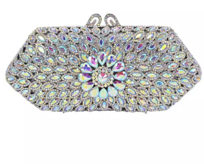 BLINBLIN SILVER CRYSTAL OWAMBE PARTY BAG - Ladybee Swiss Lace