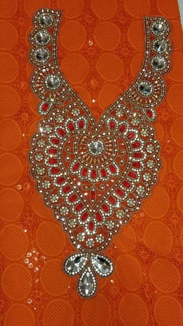African Neckline Applique Orange