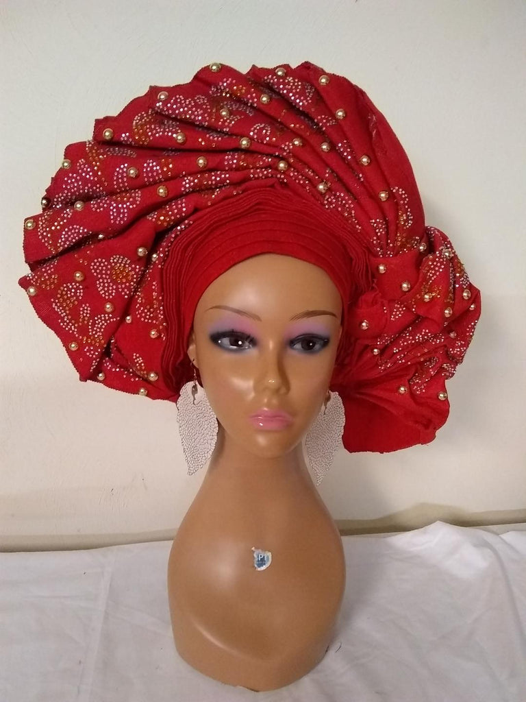 CLASSIC BRIDAL RED HEADTIE - Ladybee Swiss Lace