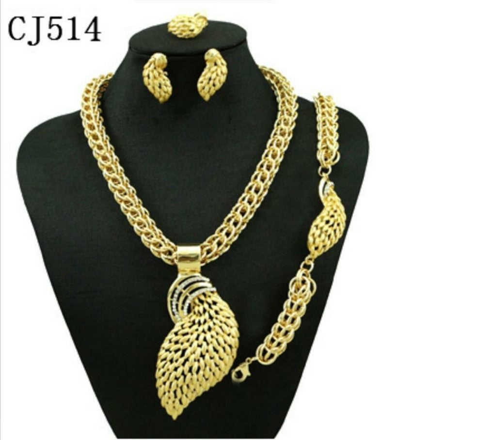 Beautiful fashion gold plated jewelry set