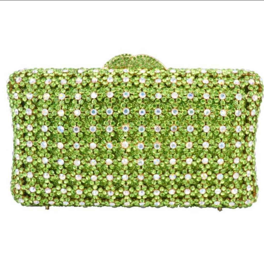 GREEN EXQUISITE CLASSIC DAZZING CRYSTAL PARTY PURSE