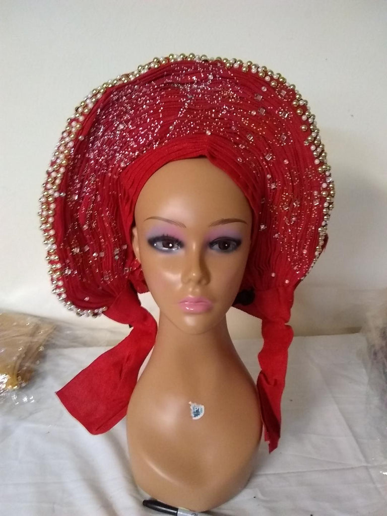 RED ROUND AUTO GELE HEADTIE - Ladybee Swiss Lace