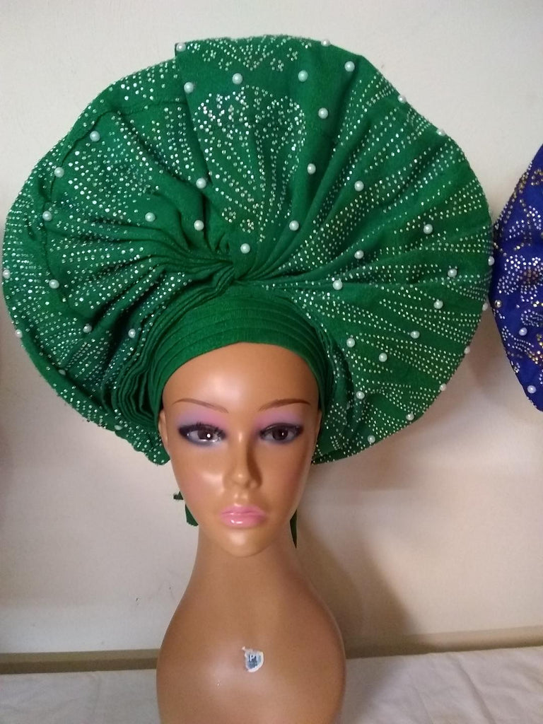 FULLY STONE GREEN READYMADE HEADTIE