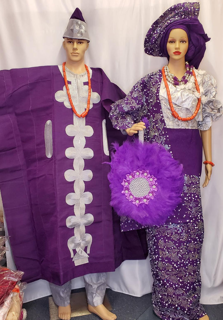 NIGERIA/AFRICAN  TRADITIONAL BRIDAL COMPLETE SET  PURPLE OUTFIT WITH AGBADA +CAP