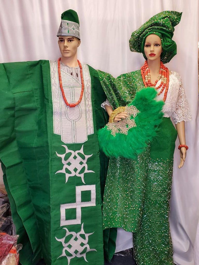 AFRICAN TRADITIONAL COMPLETE GREEN  BEAUTIFUL BRIDAL  OUTFIT SET WITH MEN AGBADA+ CAP