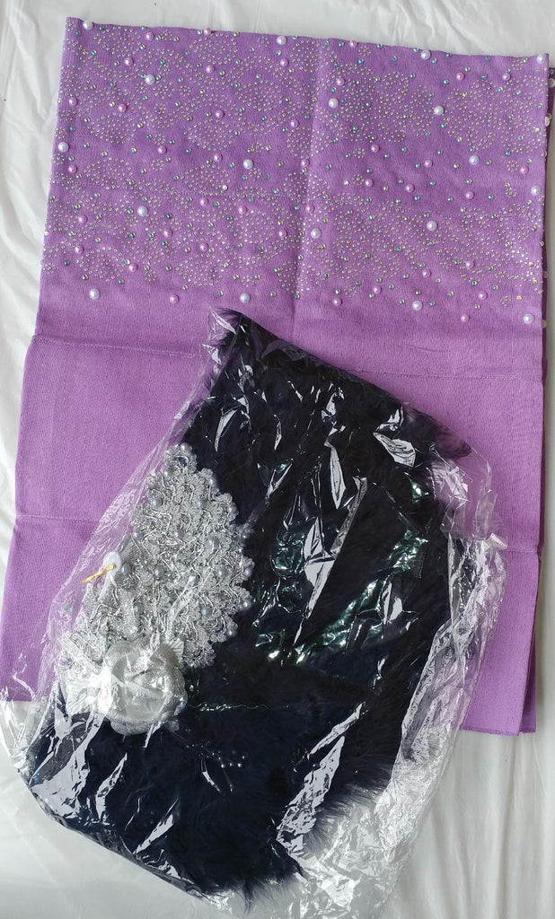Beautiful Lilac Gele With Lovely Design - Ladybee Swiss Lace