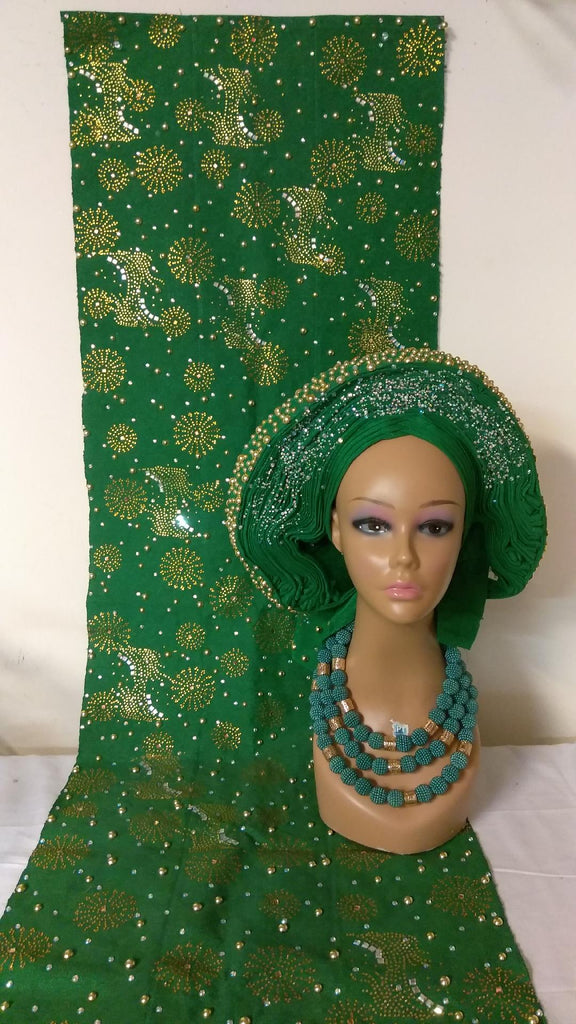 BEAUTIFUL GREEN SET OF HEADTIE WITH SHOULDER SHAW - Ladybee Swiss Lace
