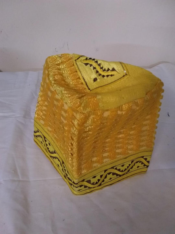 Yellow Nigerian Traditional  Native  Wear Men Cap for Traditional Ceremoneis - Ladybee Swiss Lace