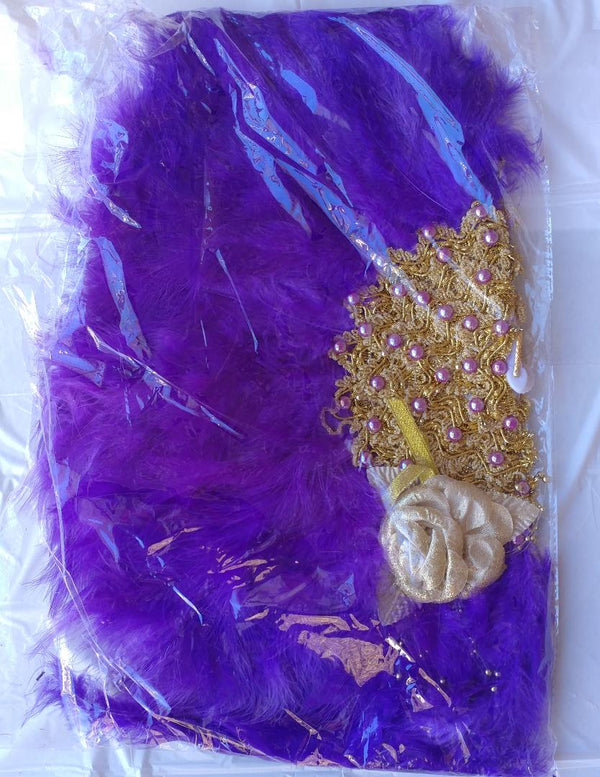 Owambe purple hand fan - Ladybee Swiss Lace