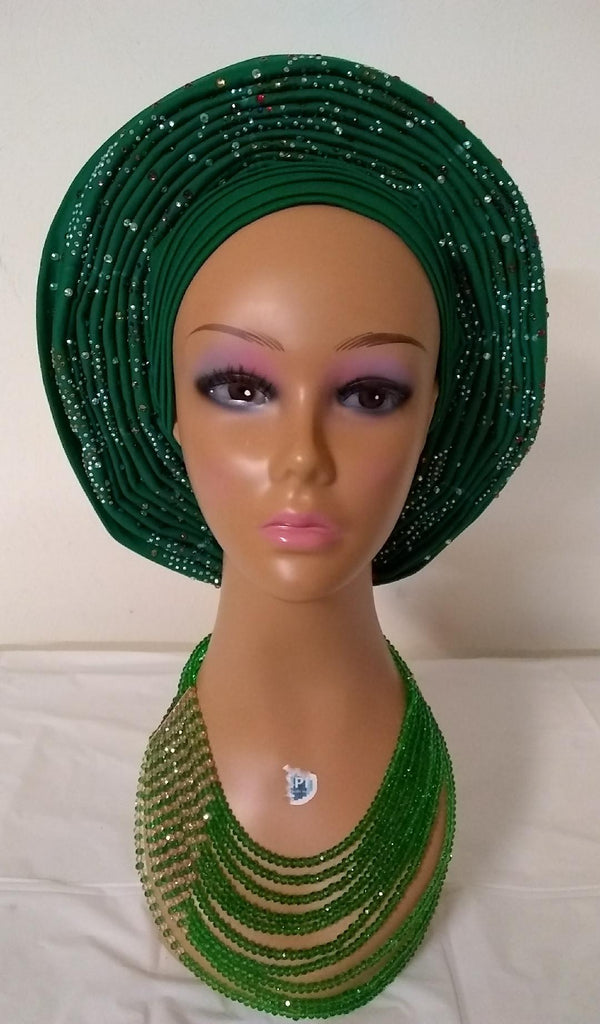 Stone Auto Gele with Cap - Ladybee Swiss Lace