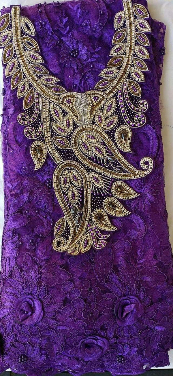 African Neckline Applique Purple