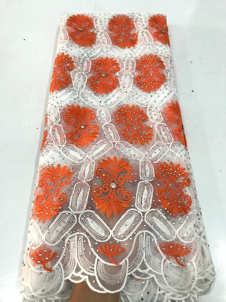 Full Stone Net Lace Fabric 2 - Ladybee Swiss Lace
