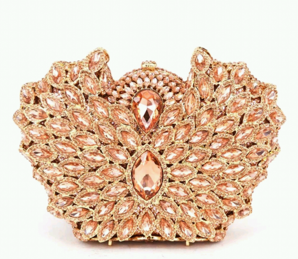 Peach gold clutch purse - Ladybee Swiss Lace