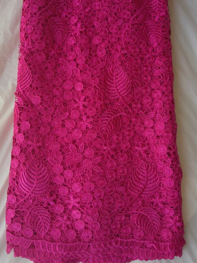 Pink Cord Lace Fabric - Ladybee Swiss Lace