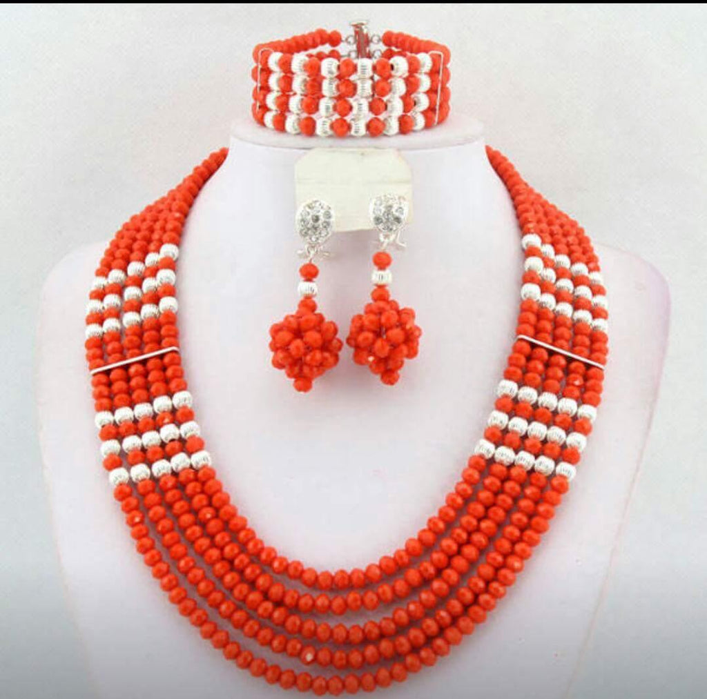 Orange Beads Set - Ladybee Swiss Lace