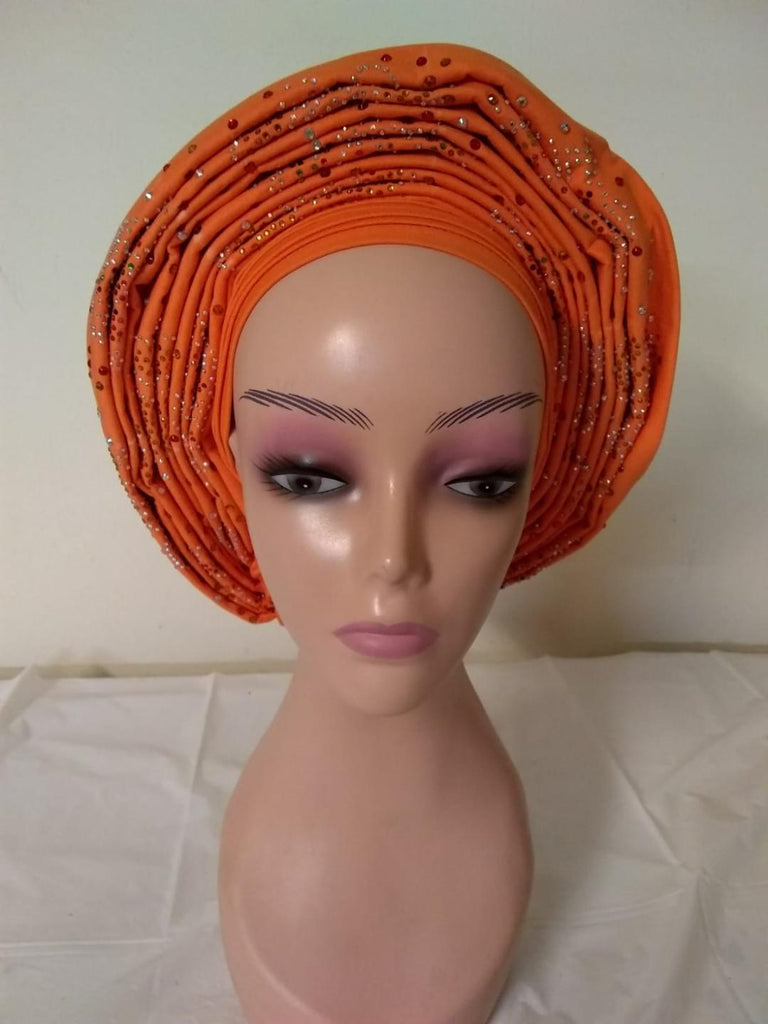 ORANGE AUTO HEADTIE WITH CAP - Ladybee Swiss Lace