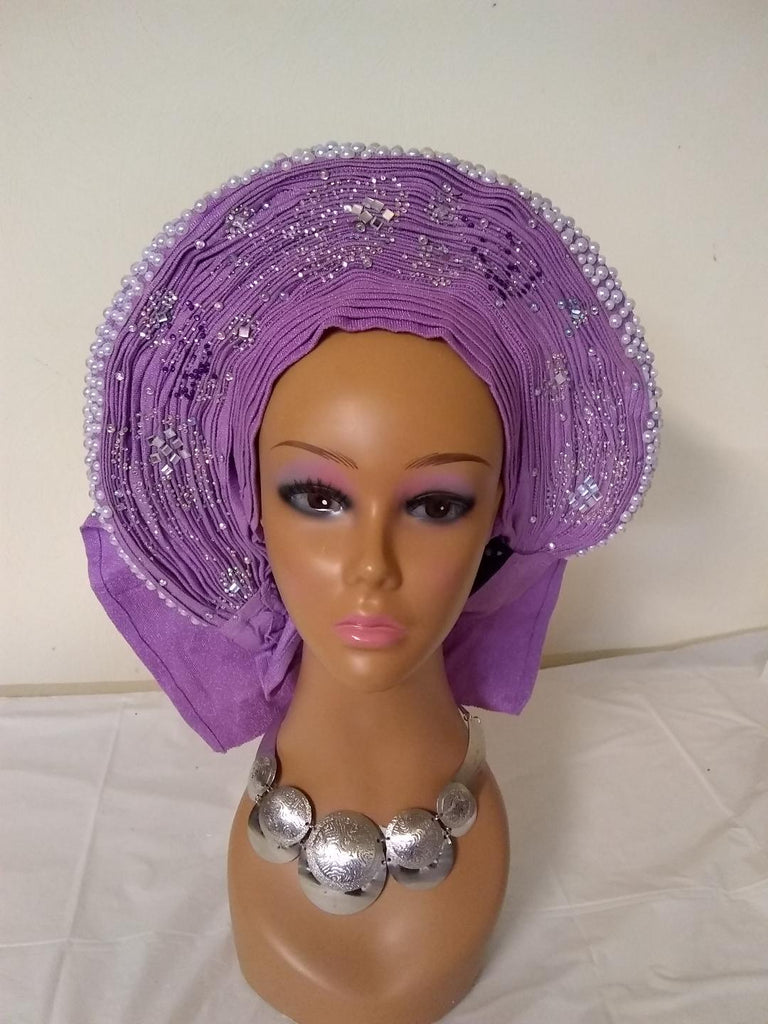 Elegant Auto Gele fully stone with beautify design at the back - Ladybee Swiss Lace