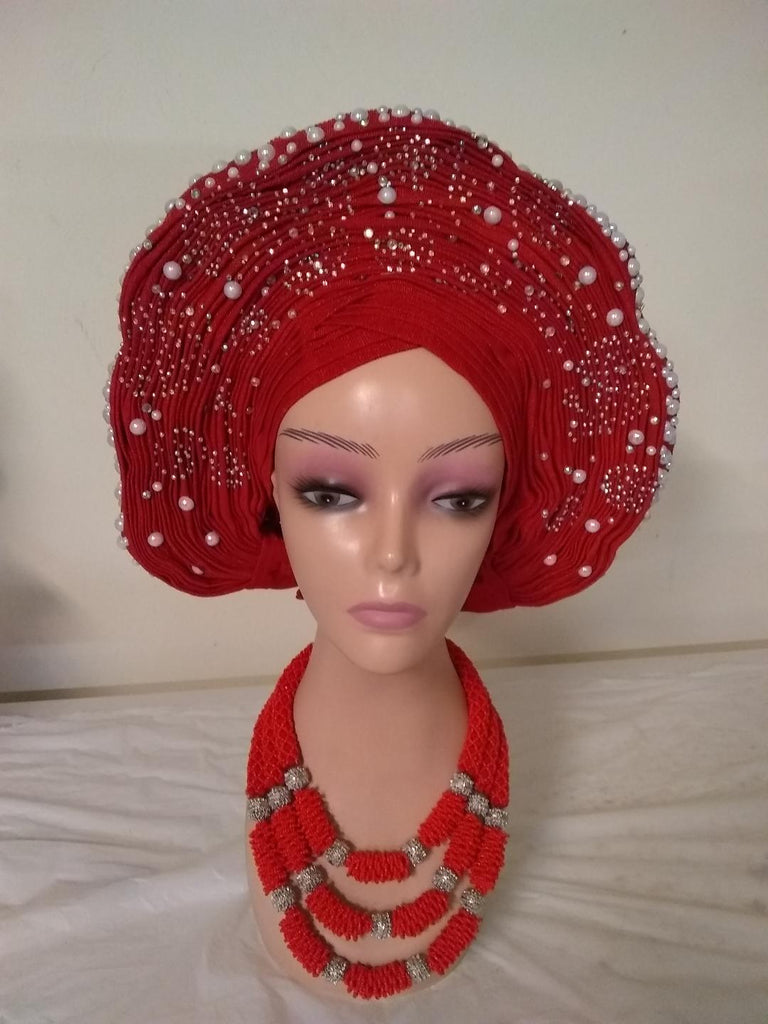 Charming Auto Gele with lovey design - Ladybee Swiss Lace