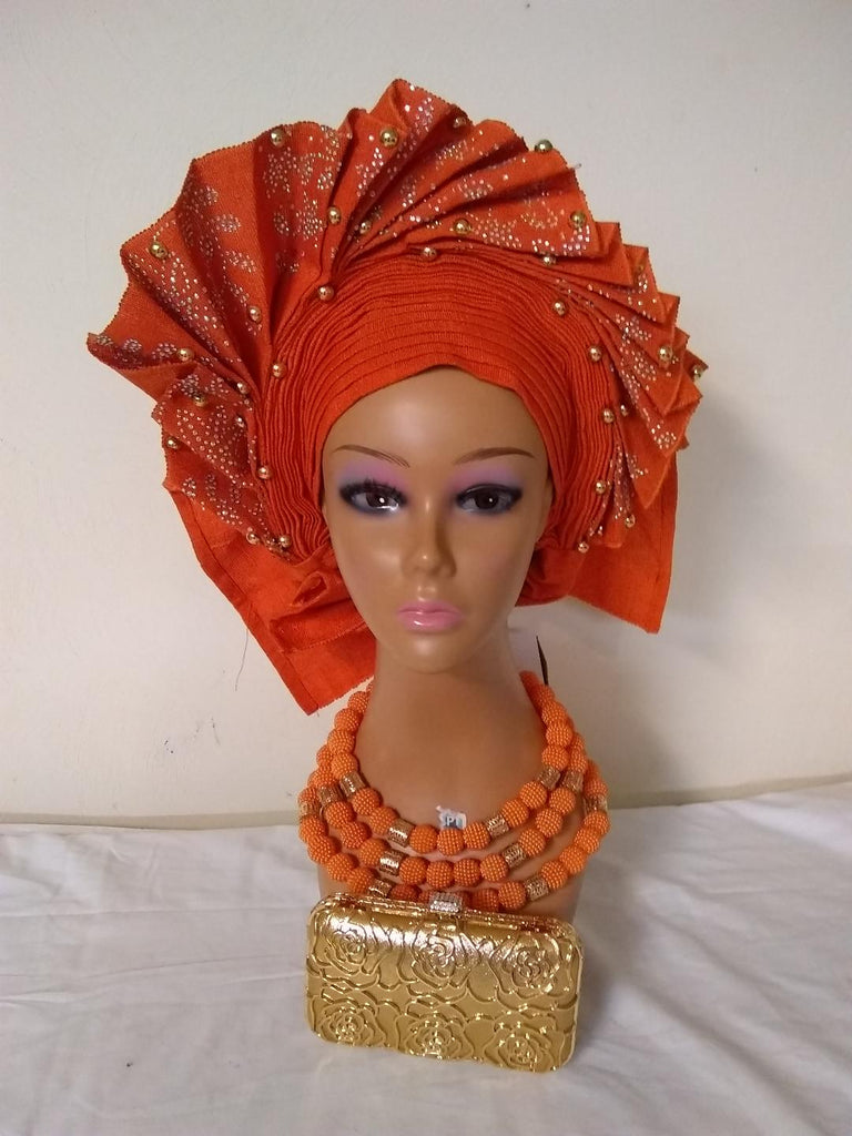 ORANGE AUTO FAN GELE HEAD TIE - Ladybee Swiss Lace