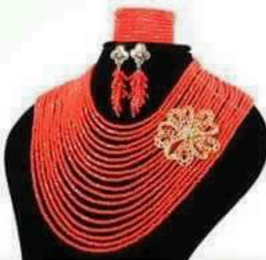 Lovely Red Beads Set - Ladybee Swiss Lace