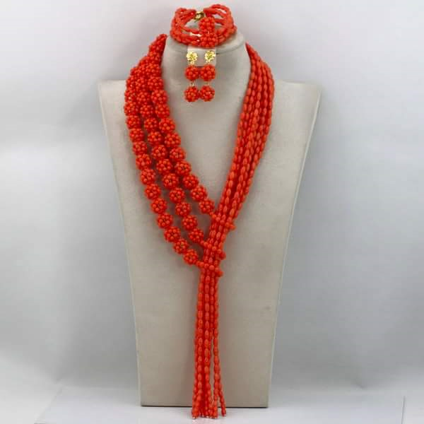 Coral Beads Set - Ladybee Swiss Lace