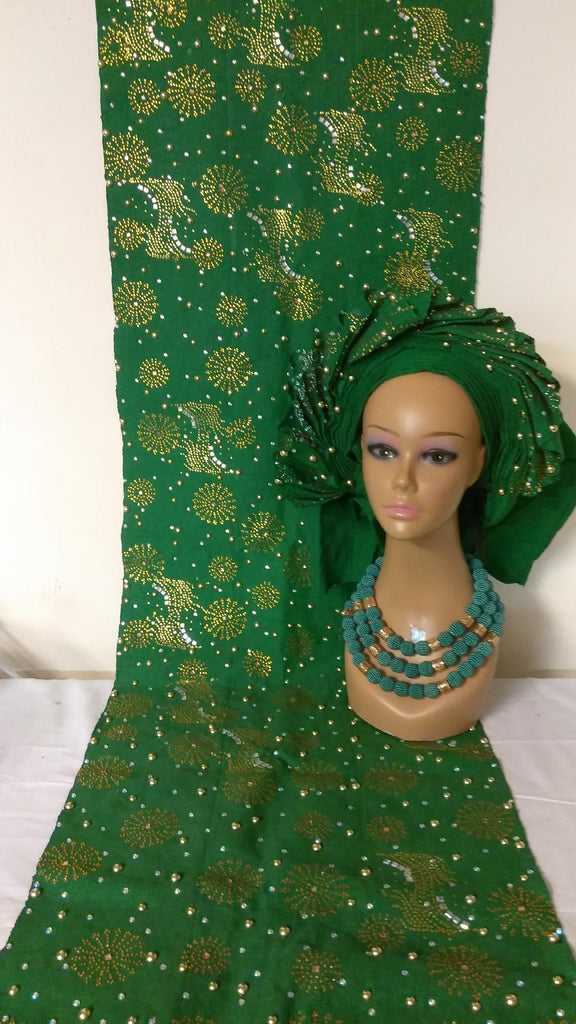 GREEN AUTO HEAD TIE WITH SHOULDER SHAWL - Ladybee Swiss Lace