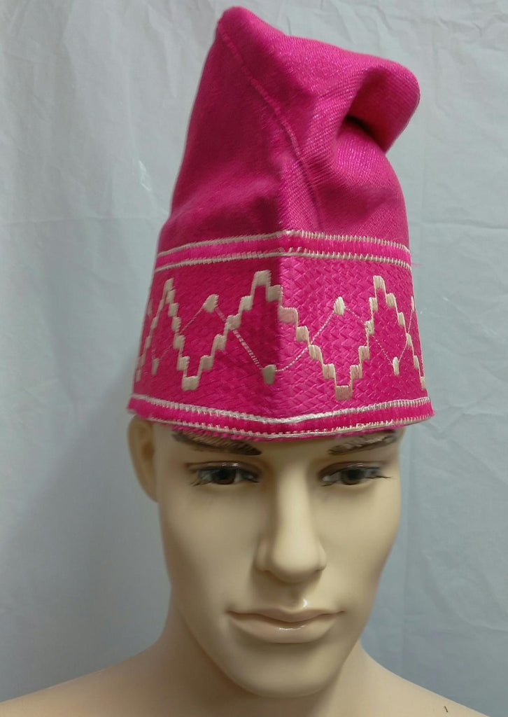 Pink Nigerian Traditional  Native  Wear Men Cap for Traditional Ceremoneis - Ladybee Swiss Lace