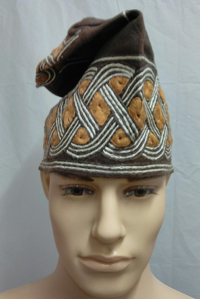 Brown Nigerian Traditional  Native  Wear Men Cap for Traditional Ceremoneis - Ladybee Swiss Lace