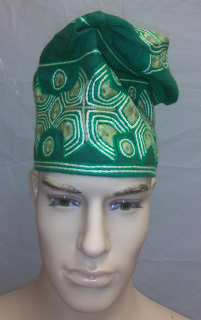 Green Nigerian Traditional  Native  Wear Men Cap for Traditional Ceremoneis - Ladybee Swiss Lace