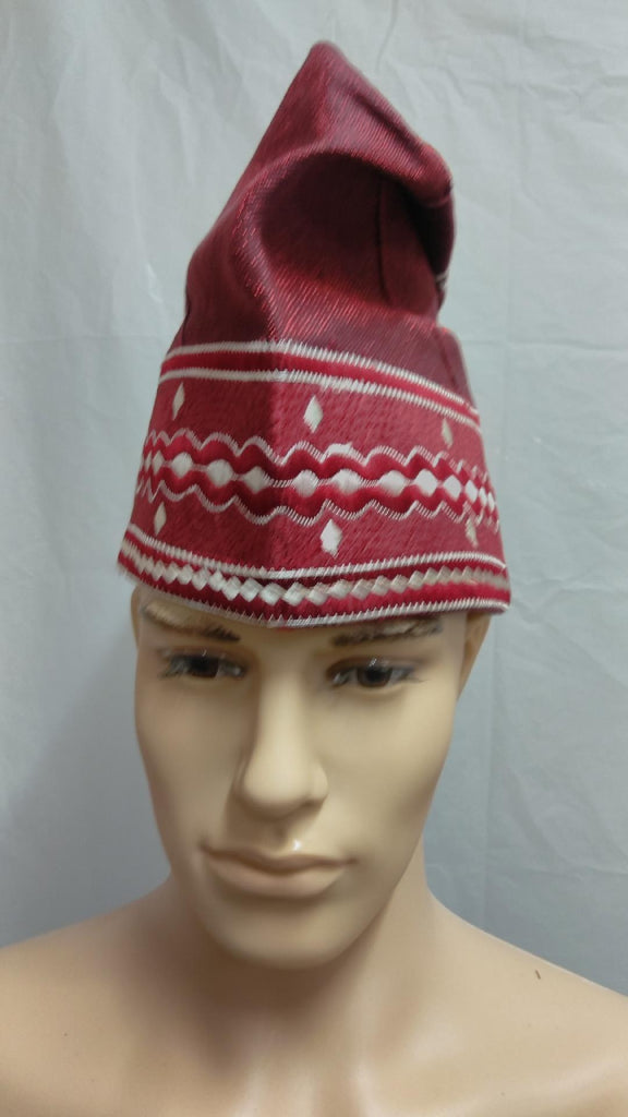 Wine Nigerian Traditional  Native  Wear Men Cap for Traditional Ceremoneis - Ladybee Swiss Lace