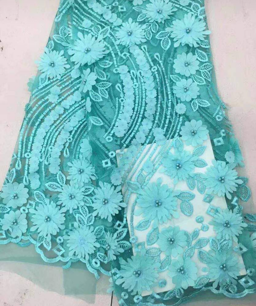 High Quality French Lace 3D With Flowers - Ladybee Swiss Lace