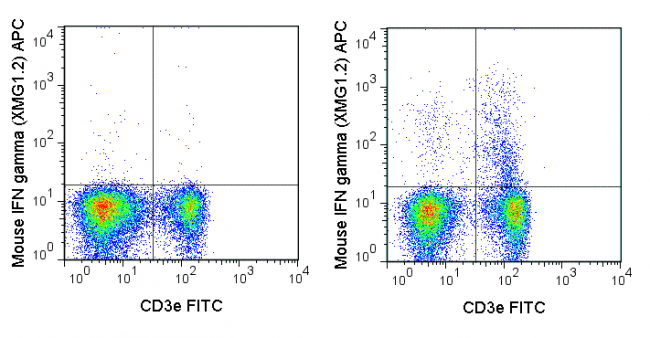 C57Bl/6 splenocytes were stimulated with PMA and Ionomycin (right panel) or unstimulated (left panel) and then stained with FITC Anti-Mouse CD3e (35-0031), followed by intracellular staining with 0.06 ug APC Anti-Mouse IFN gamma (20-7311).
