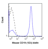 C57Bl/6 splenocytes were stained with 0.125 ug Anti-Mouse CD19 Biotin (30-0193) (solid line) or 0.125 ug Rat IgG2a Biotin isotype control (dashed line), followed by Streptavidin PE.