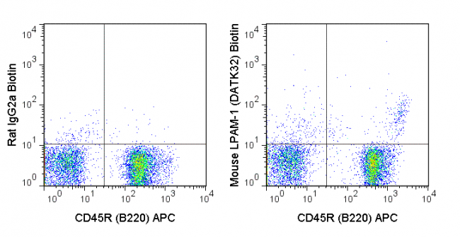C57Bl/6 bone marrow cells were stained with APC Anti-Mouse CD45R (B220) (20-0452) and 0.25 ug biotin Anti-Mouse LPAM-1 (30-5887) (right panel) or 0.25 ug biotin Rat IgG2a isotype control (left panel) followed by Streptavidin PE.