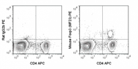 C57Bl/6 splenocytes were stained with APC Anti-Mouse CD4 (20-0042), followed by intracellular staining with 0.25 ug PE Anti-Mouse Foxp3 (50-0191) (right panel) or 0.25 ug PE Rat IgG2b isotype control (left panel).