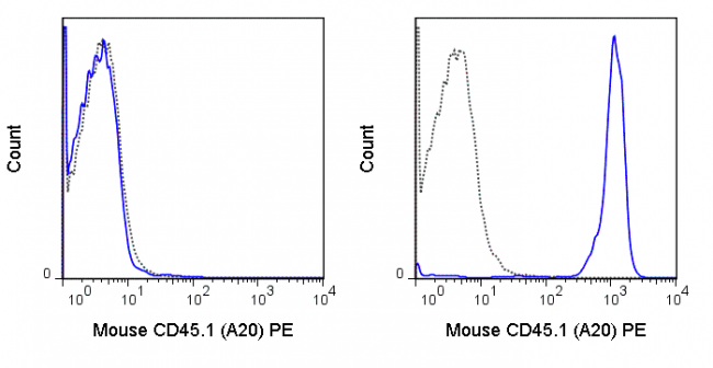 C57Bl/6 (left panel) or SJL (right panel) splenocytes were stained with 0.5 ug PE Anti-Mouse CD45.1 (50-0453) (solid line) or 0.5 ug PE Mouse IgG2a isotype control (dashed line).