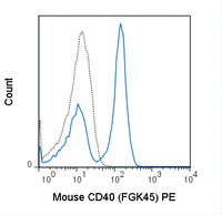 C57Bl/6 splenocytes were stained with 0.25 ug PE Anti-Mouse CD40 (50-8050) (solid line) or 0.25 ug PE Rat IgG2a isotype control (dashed line).