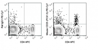 C57Bl/6 splenocytes were stained with APC Anti-Mouse CD4 (20-0041) and 0.125 ug PE-Cy7 Anti-Mouse CD25 (60-0251) (right panel) or 0.125 ug PE-Cy7 Rat IgG1 isotype control (left panel).