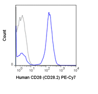 Human peripheral blood lymphocytes were stained with 5 uL (0.25 ug) PE-Cy7 Anti-Human CD28 (60-0289) (solid line) or 0.25 ug PE-Cy7 Mouse IgG1 isotype control (dashed line).