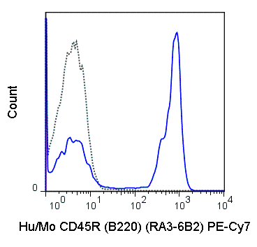 C57Bl/6 splenocytes were stained with 0.125 ug PE-Cy7 Anti-Hu/Mo CD45R (B220) (60-0452) (solid line) or 0.125 ug PE-Cy7 Rat IgG2a isotype control (dashed line).