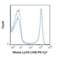 C57Bl/6 bone marrow cells were stained with 0.25 ug PE-Cy7 Anti-Mouse Ly-6G (60-1276) (solid line) or 0.25 ug PE-Cy7 Rat IgG2a isotype control (dashed line).
